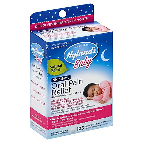 Hylands Baby Oral Pain Relief Nighttime Quick Dissolving Tablets 65mg - 125 Count