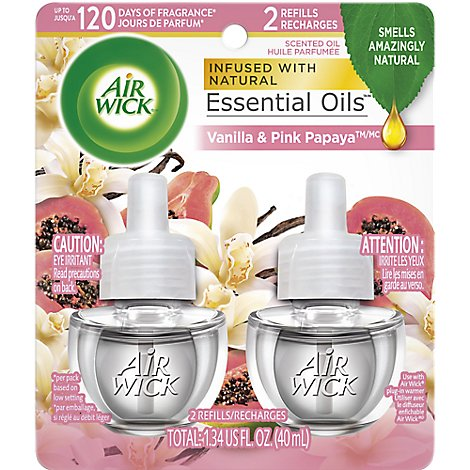 Air Wick Essential Oil Scented Oil Refills Vanilla & Pink Papaya Fragrance - 2-0.67 Fl. Oz.