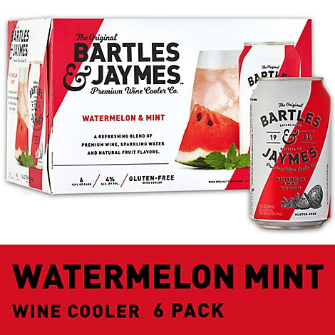 Bartles and Jaymes Watermelon Mint Wine Cooler  Cans - 6-355 Ml