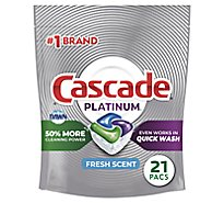 Cascade Platinum ActionPacs Dishwasher Detergent Fresh - 21 Count