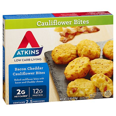 Atkins Cauliflower Bites Bacon Cheddar - 7.5 Oz