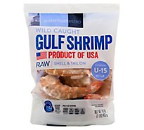 waterfront BISTRO Shrimp Gulf Raw Wild Caught Shell & Tail On Colossal Under 15 Count- 16 Oz