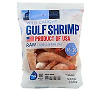 waterfront BISTRO Shrimp Gulf Wild Caught Shell & Tail On Extra Jumbo 16 To 20 Count - 16 Oz