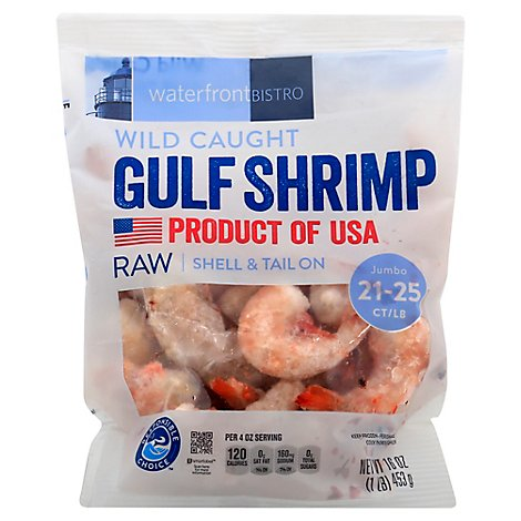waterfront BISTRO Shrimp Gulf Raw Wild Caught Shell & Tail On Jumbo 21 To 25 Count - 16 Oz