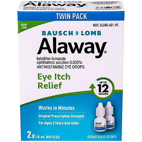 Bausch + Lomb Alaway Eye Drops Antihistamine Twin Pack - 2-0.34 Fl. Oz.