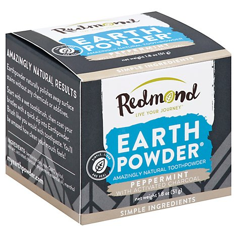 Redmond Earth Powder Toothpowder Peppermint With Activated Charcoal - 1.8 Oz