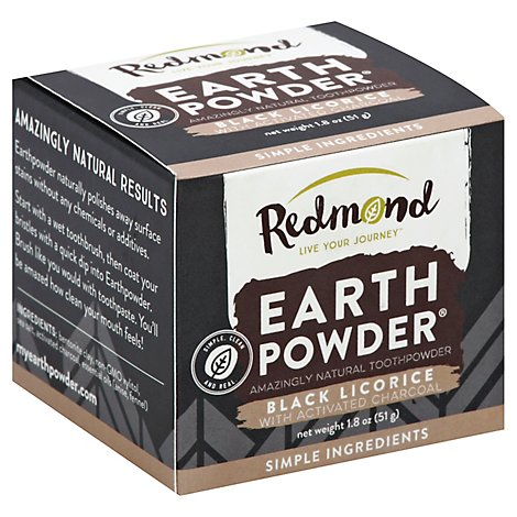 Redmond Earth Powder Toothpowder Black Licorice With Activated Charcoal - 1.8 Oz