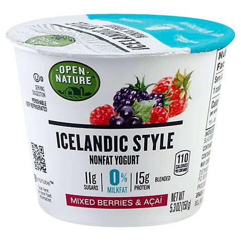 Open Nature Yogurt Icelandic Style Nonfat Mixed Berry & Acai - 5.3 Oz