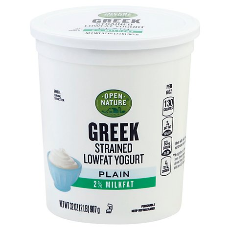 Open Nature Yogurt Greek Lowfat 2% Milkfat Strained Plain - 32 Oz