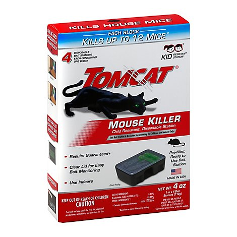 Tomcat Mouse Killer Disposable Bait Station 4 Count - 4 Oz