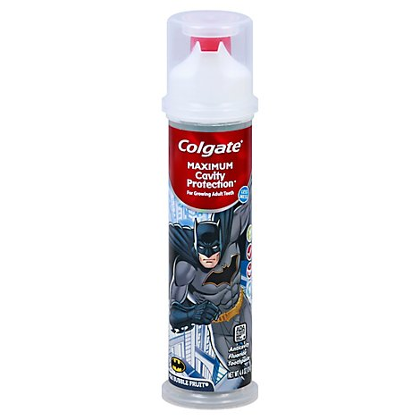 Colgate Kids Toothpaste Anticavity Flouride Mild Bubble Fruit Batman Pump - 4.4 Oz