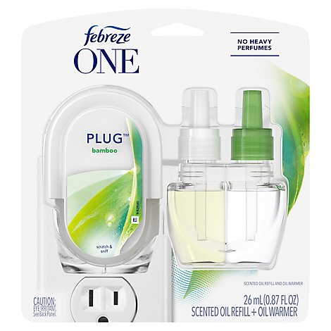 Febreze ONE Plug Scented Oil Warmer + Bamboo Scented Oil Refill - 0.87 Fl. Oz.