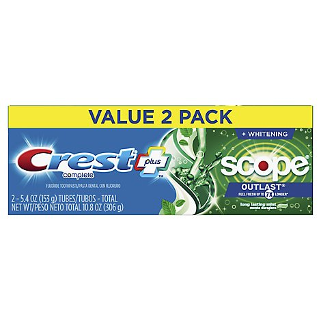 Crest Complete Plus Toothpaste +Whitening Scope Minty Fresh Striped - 2-5.4 Oz