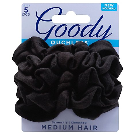 Goody Ouchless Scrunchie Black Medium - 5 Count