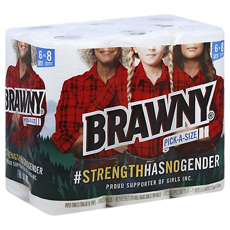 Brawny Paper Towels 2 Ply White Pick A Size - 6 Roll