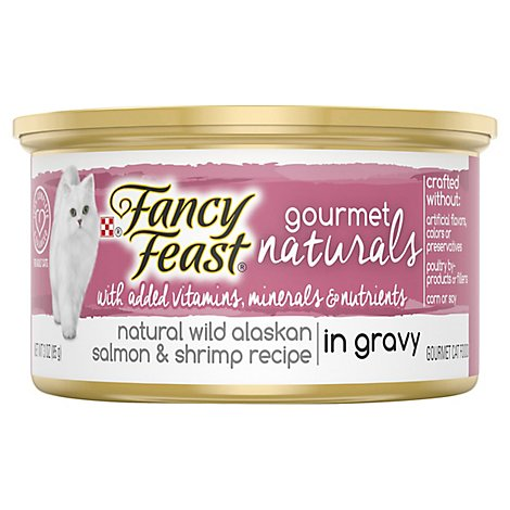 Fancy Feast Cat Food Wet Gourmet Naturals Wild Alaskan Salmon & Shrimp - 3 Oz