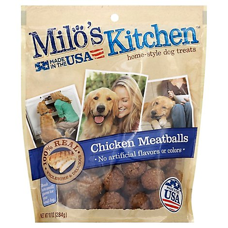 Milos Kitchen Dog Treats Home Style Chicken Meatballs - 10 Oz