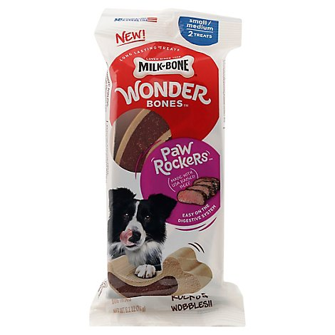Milk-Bone Wonder Bones Dog Treats Paw Rockers Beef Small And Medium 2 Count - 7 Oz