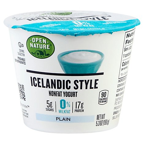 Open Nature Yogurt Icelandic Style Nonfat Plain - 5.3 Oz