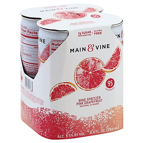 Beringer M&V Pink Grapefruit Cans Wine - 4-250 Ml