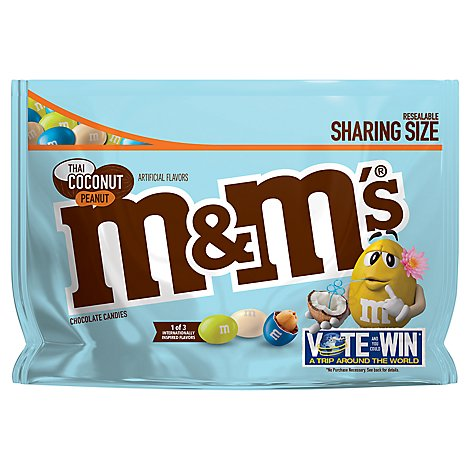M&Ms Thai Coconut Peanut Chocolate Candy Flavor Vote Sharing Size 9.6 Oz