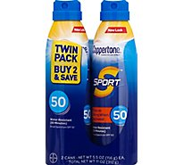 Coppertone Sport Sunscreen Spray Broad Spectrum SPF 50 Twin Pack - 2-5.5 Fl. Oz.
