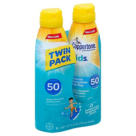 Coppertone Kids Sunscreen Spray Broad Spectrum SPF 50 Twin Pack - 2-5.5 Fl. Oz.