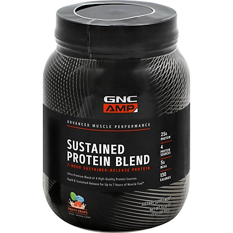 Gnc Amp Sustained Protein Fruity Crisps - 32.1 Oz