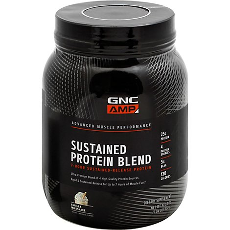 GNC Amp Protein Blend Sustained Vanilla Milkshake - 32.59 Oz