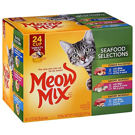 Meow Mix Cat Food Seafood Selections Variety Pack - 24-2.75 Oz