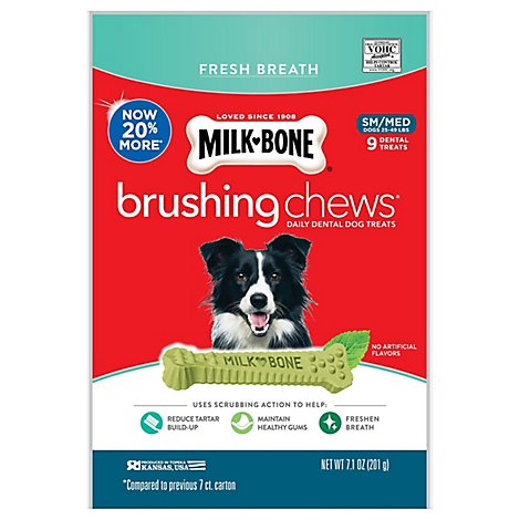 Milk-Bone Brushing Chews Dental Treats Daily Fresh Breath Small/Medium 9 Count - 7.1 Oz