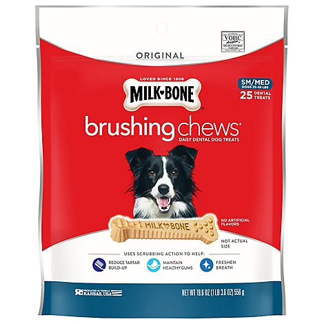 Milk-Bone Brushing Chews Dental Treats Daily Small/Medium 25 Count - 19.6 Oz