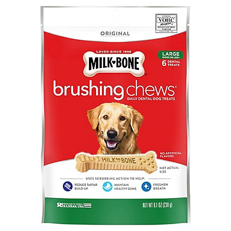 Milk-Bone Brushing Chews Dental Treats Daily Large 6 Count - 8.1 Oz