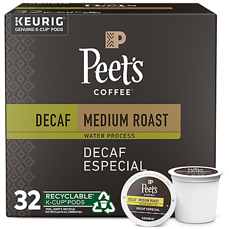 Peets Coffee K Cups Pods Decaf Medium Roast Decaf Especial - 32 Count