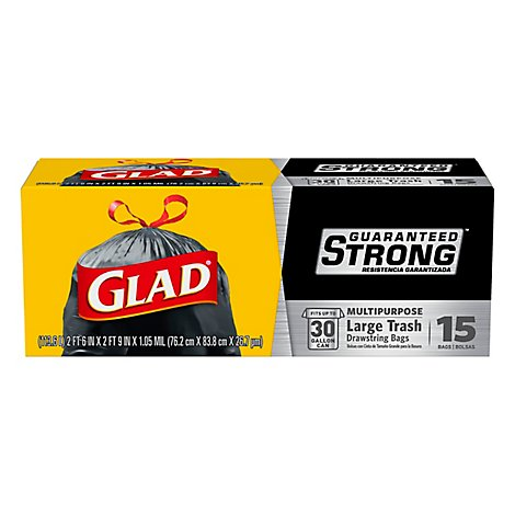 Glad Extra Strong Large Drawstring Trash Bags - 15    Count