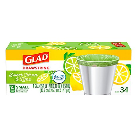 Glad Drawstring Sweet Citron & Lime Odor Shield 4 Gallon - 34 Count
