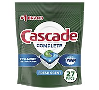 Cascade Complete Dishwasher Detergent ActionPacs Fresh Scent - 27 Count