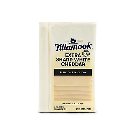 Tillamook Cheese Slices Farmstyle Thick Cut Extra Sharp White Cheddar - 8-1 Oz
