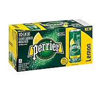 Perrier Lemon Flavored Carbonated Mineral Water Slim Cans - 10-8.45 Fl. Oz.