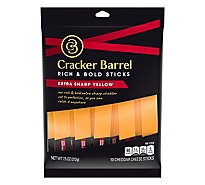 Cracker Barrel Cheese Sticks Extra Sharp Cheddar 10 Count - 7.5 Oz