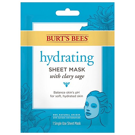 Burts Bees Sheet Mask Hydrating With Clary Sage - 0.33 Oz