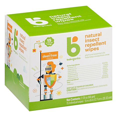 Babyganics Insect Repellent Wipes 15 Count - 2.35 Oz