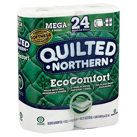 Quilted Northern Bathroom Tissue EcoComfort Mega Roll 2 Ply Unscented - 6 Roll