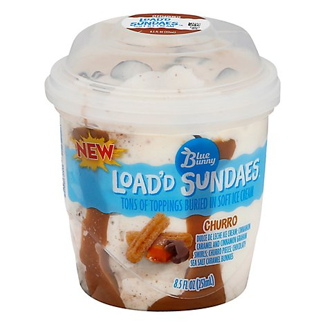 Blue Bunny Load D Sundaes Ice Cream Churro - 8.5 Fl. Oz.