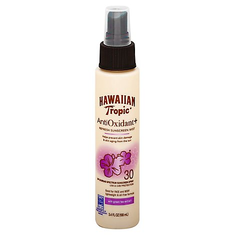 Hawaiian Tropic Antioxidant Plus Sunscreen Mist Refreshing Broad Spectrum SPF 30 - 3.4 Oz