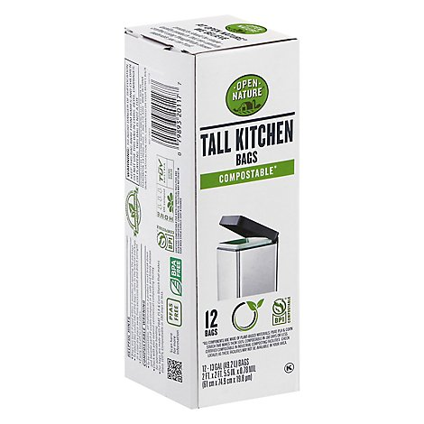 Open Nature Trash Bags Compostable Kitchen - 12 Count