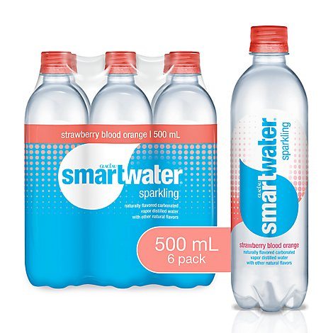 smartwater Water Sparkling Vapor Distilled Strawberry Blood Orange - 6-16.9 Fl. Oz.