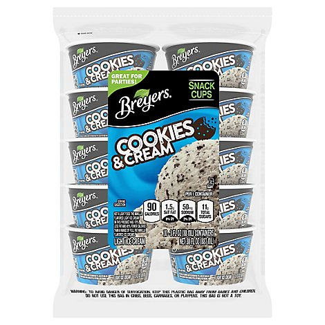 Breyers Ice Cream Snack Cups Oreo Cookies & Cream - 10-3 Oz