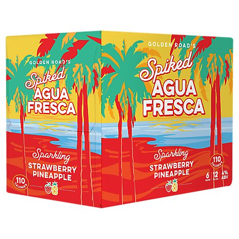 Golden Road Spiked Agua Fresca Strawberry Pineapple - 6-12Fl. Oz.