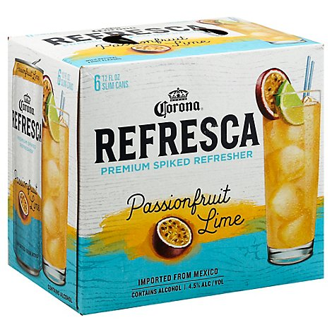 Corona Refresca Spiked Tropical Cocktail Passionfruit Lime Cans 4.5% ABV - 6-12 Fl. Oz.